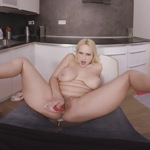 Blonde with Huge Tits Edging to Orgasm