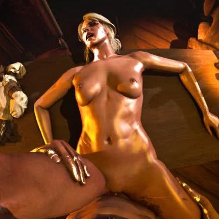 Oily Blonde Moaning in CGI Missionary